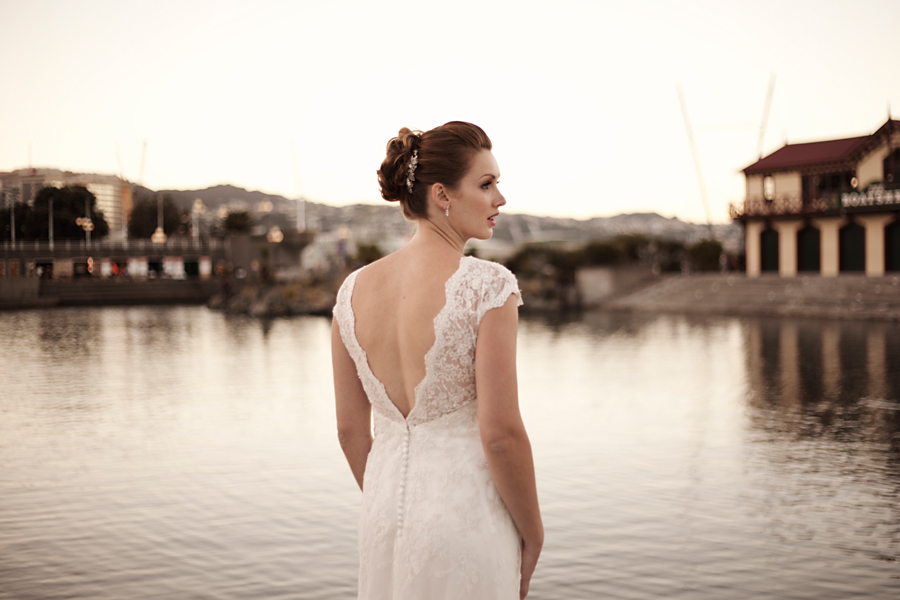 Bridal lace back dress