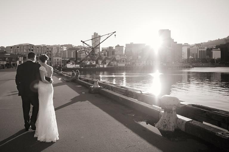 Wellington waterfront sunset wedding photography