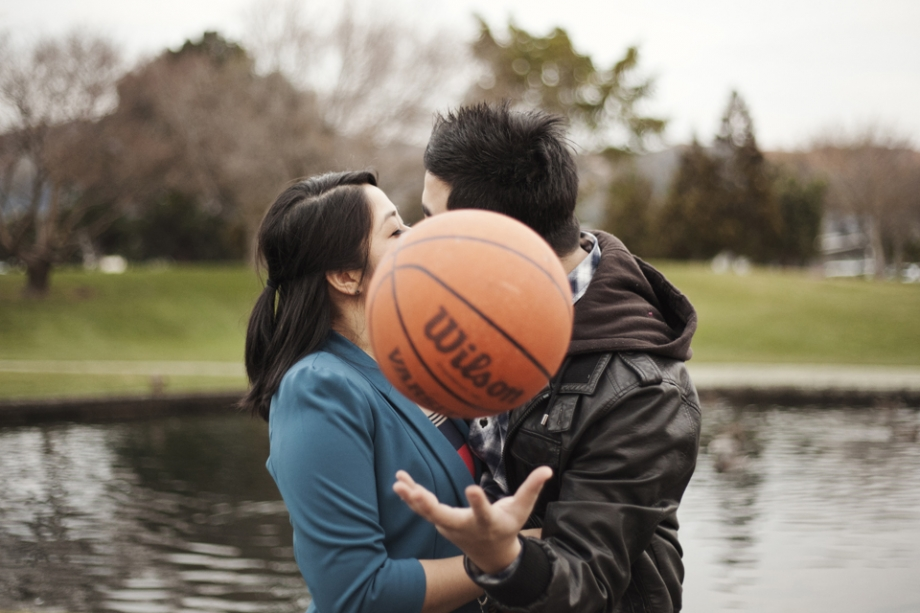 Basketball engagement photography