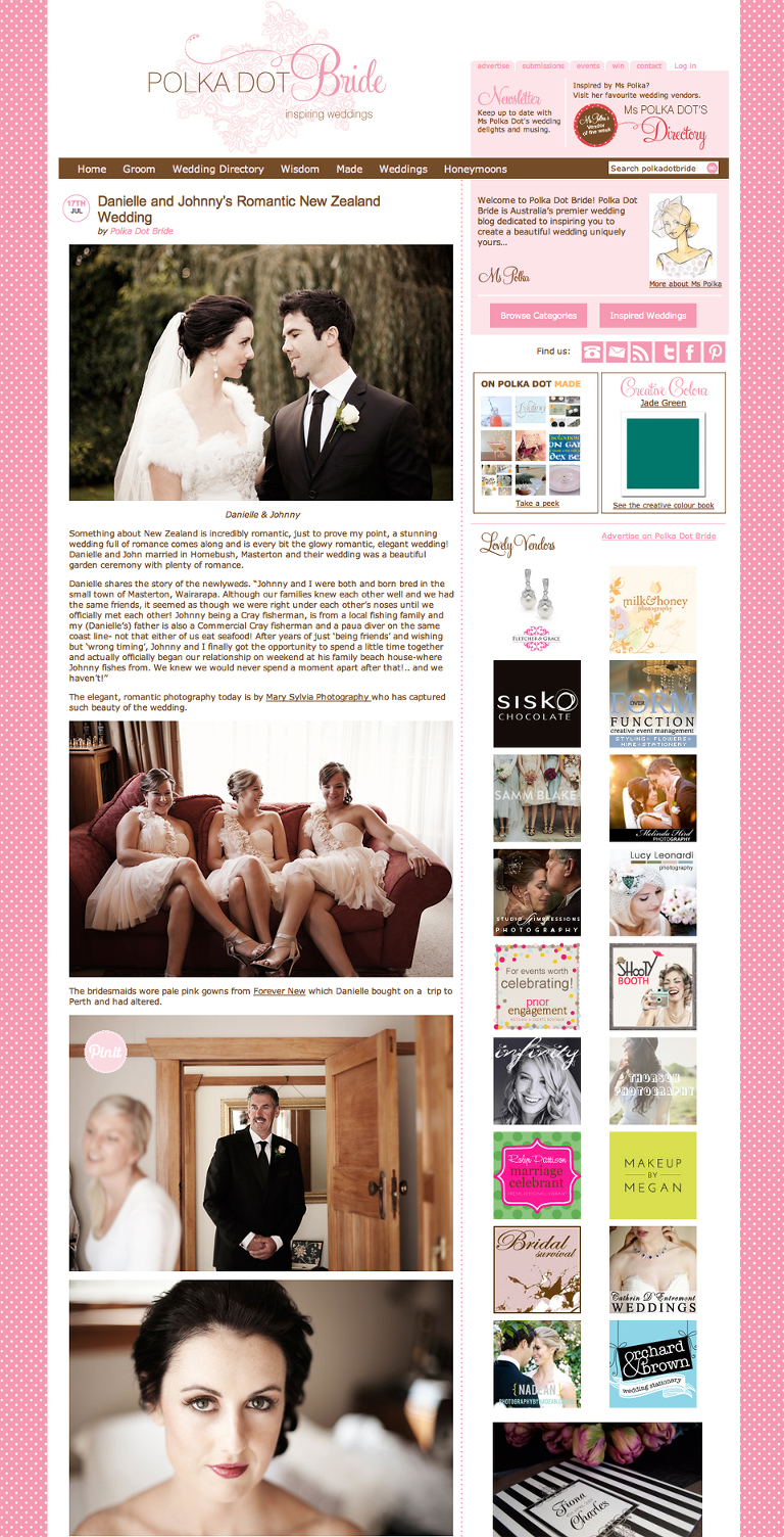 Polkadotbride feature wedding New Zealand