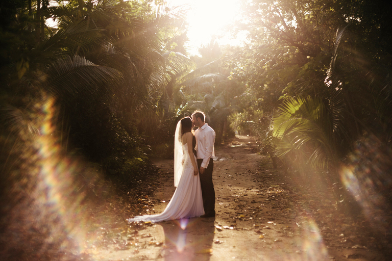 Fiji Wedding Photographer Mamnuca Islands Jungle Sunset Bride and Groom