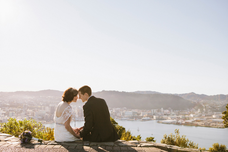 Mount Victoria wedding photography overlooking Wellington Harbour
