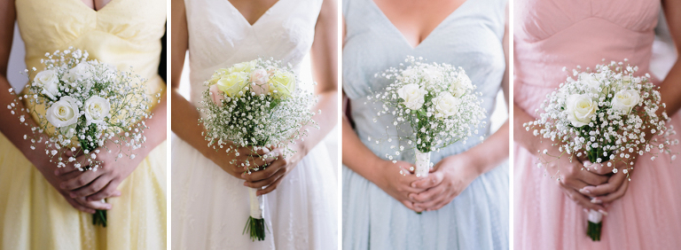 Pastel bridesmaids dresses, Gypsophilia, baby's breath flower bouquets