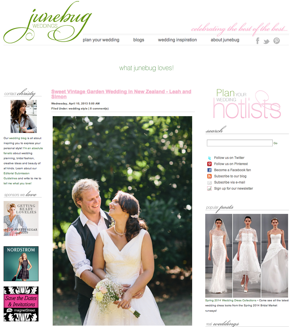 Featured On Junebug And DIY Bride