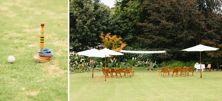 Tauranga outdoor wedding ceremony with umbrellas