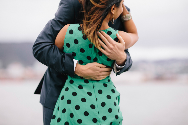 Polkadot dress engagement photography New Zealand