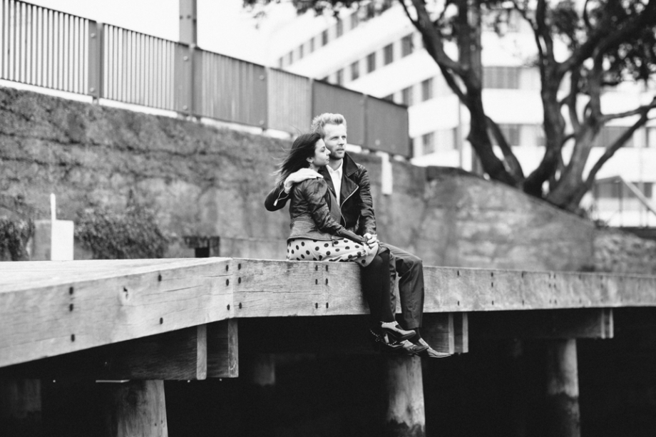 Wellington Waterfront Engagement Photography Black and White