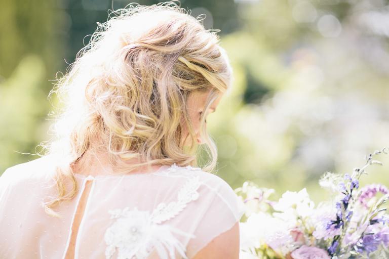 Blonde hair sheer sleeves wedding dress
