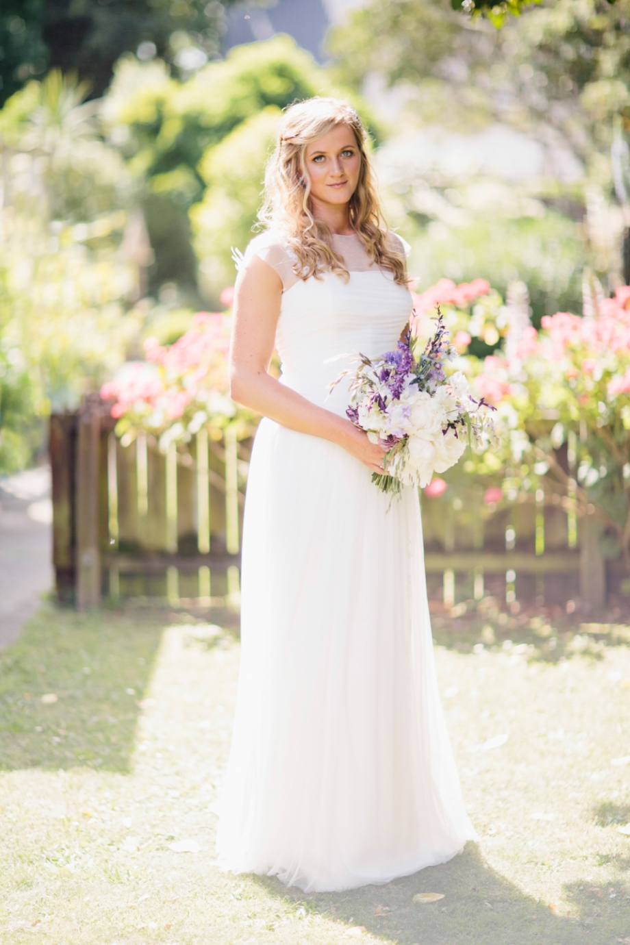Short sleeved wedding dress, martinborough photography