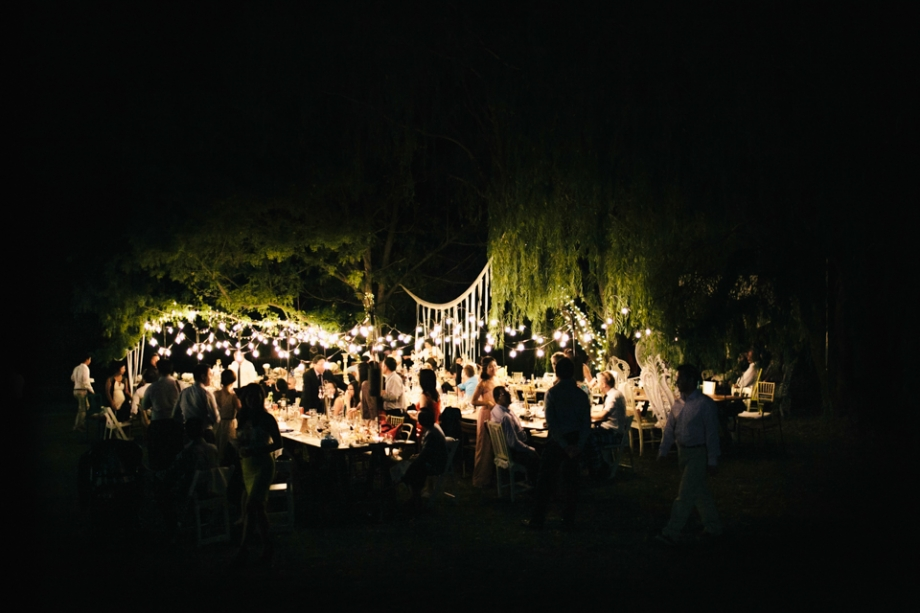 Wedding reception outside under the stars