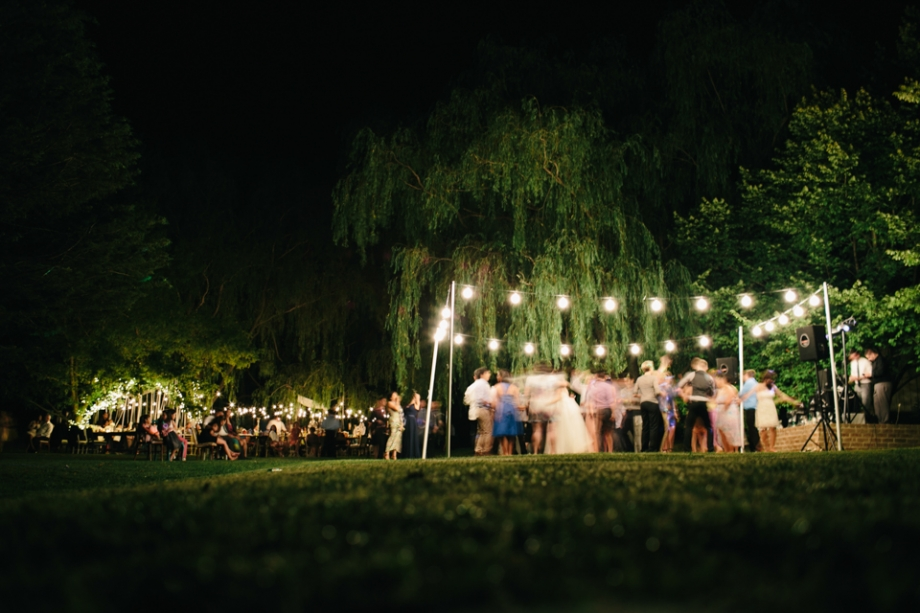 Wedding reception dance floor outside under the stars
