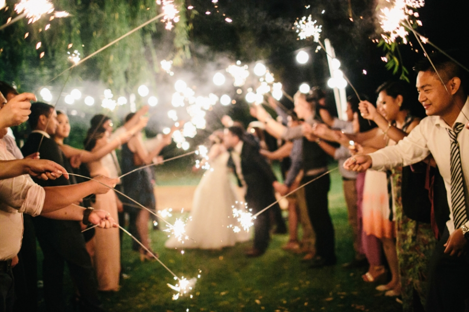 Wedding reception sparkler exit photography