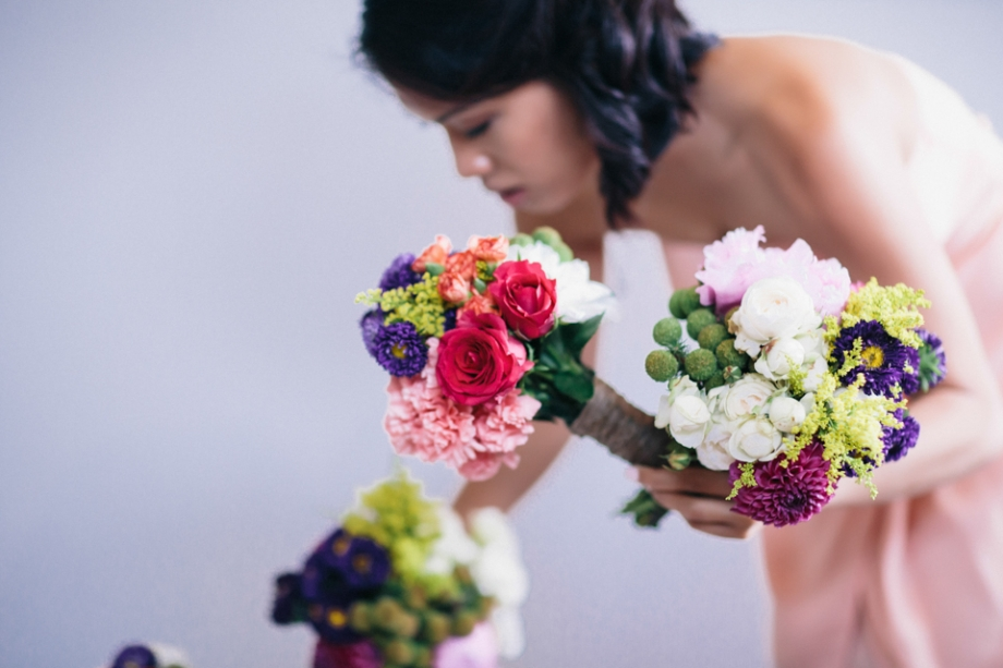 Wild flower wedding bouquet colorful