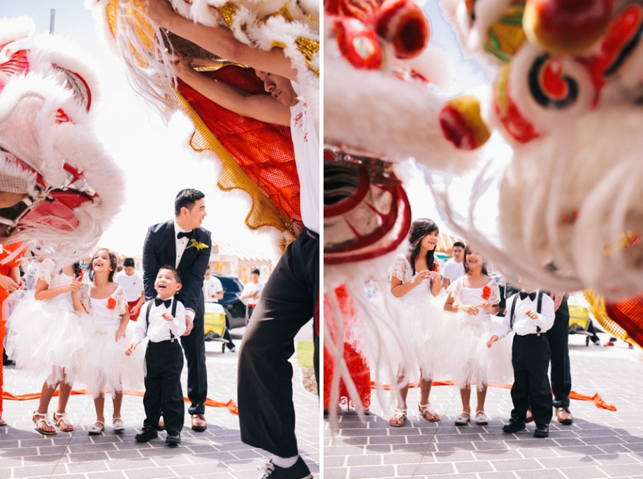 Wedding day lion dancers! Tea Ceremony.