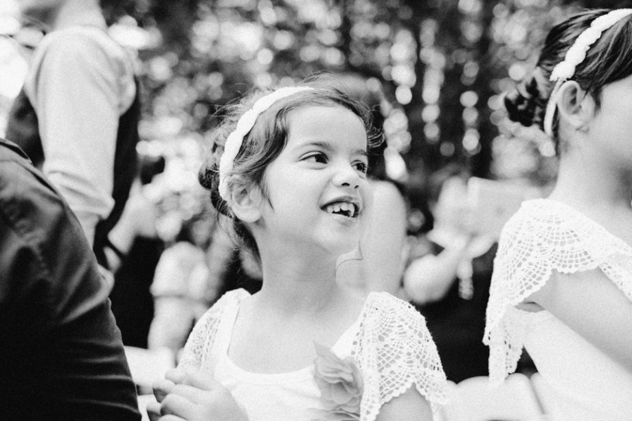 Flower girl excited wedding photography