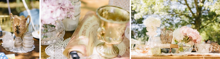 Cute vintage thrift oppshop wedding reception details for table