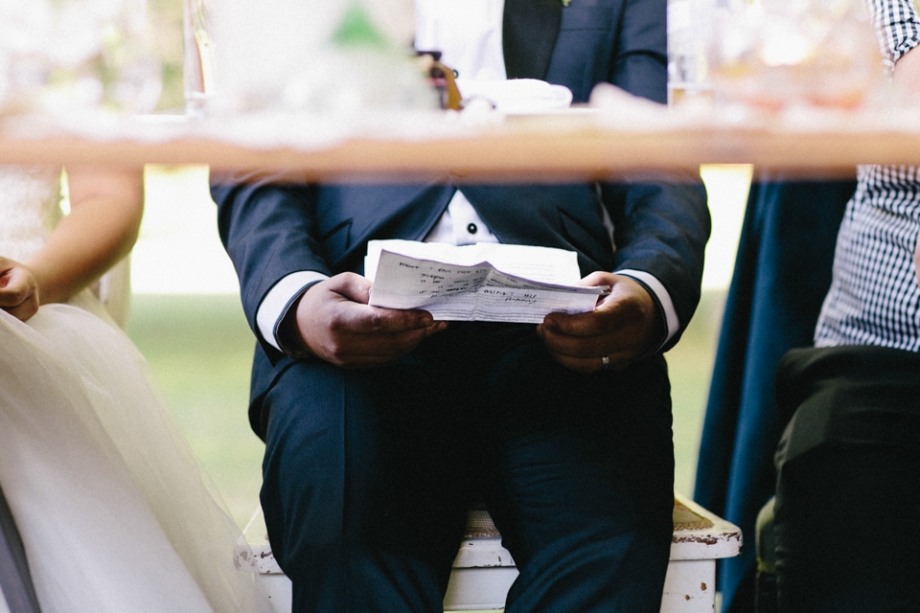 Wedding speech last minute check under table