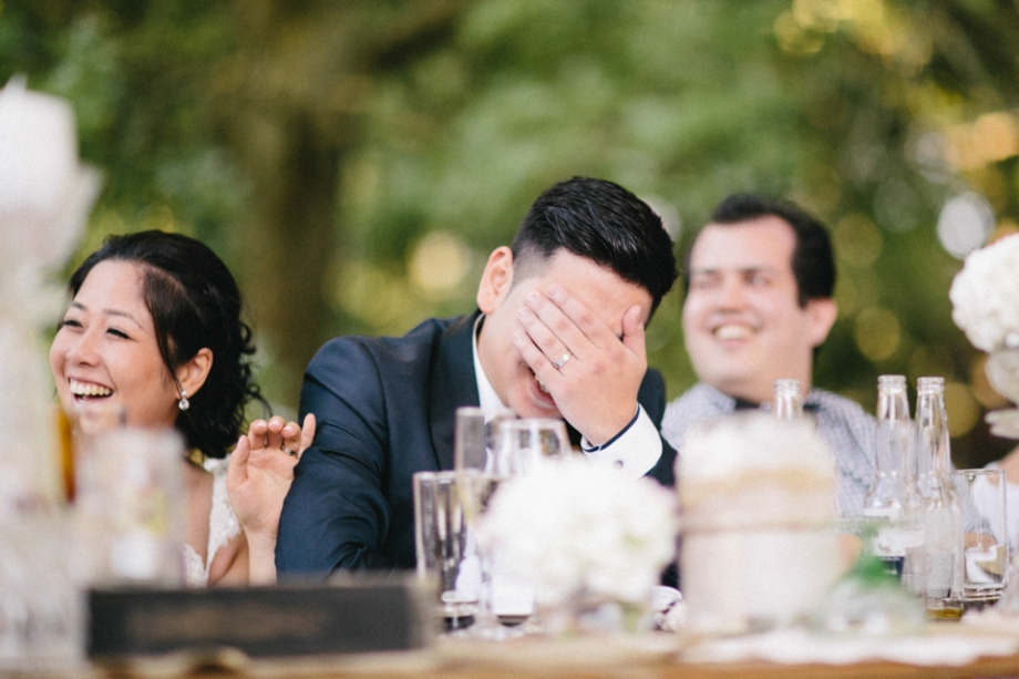 Wedding reception speech reaction