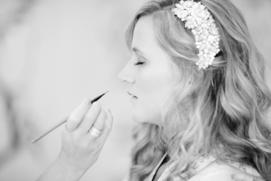 Bride getting makeup put on