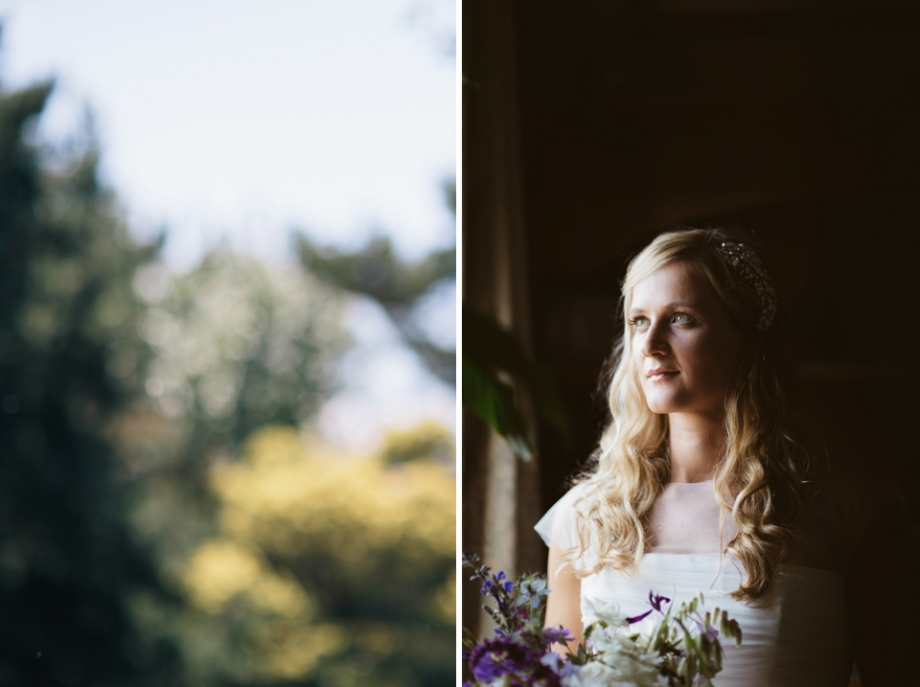 Bride in window with contrasted lighting