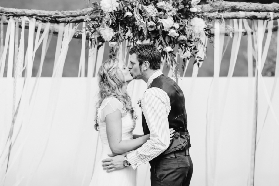 First kiss wedding ceremony Martinborough