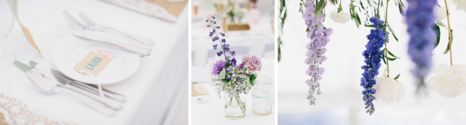 Purple pink and blue wedding reception flowers