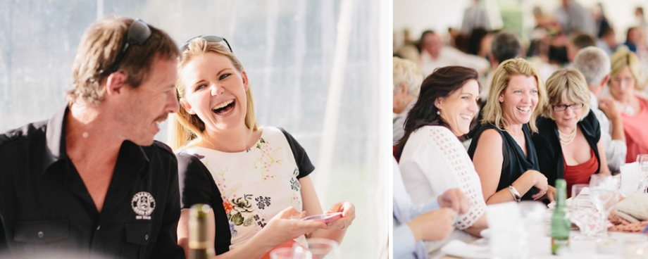 Guest laughing at Martinborough wedding reception