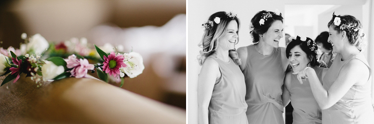 close up of flowers and bridesmaids laughing Martinborough Brackenridge Estate wedding black and white natural light