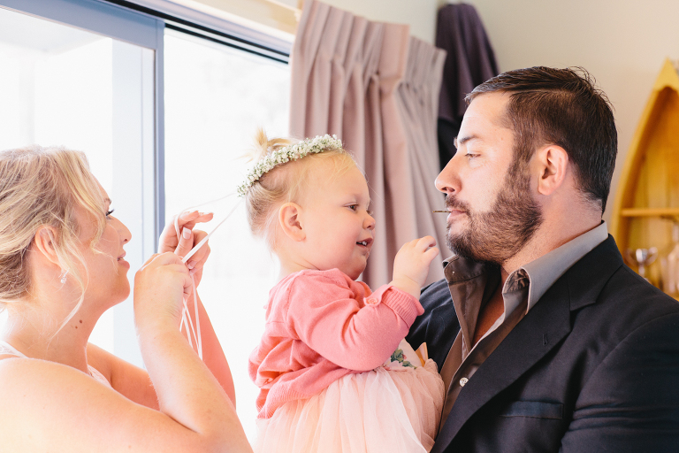 bridesmaid with baby and husband Riversdale Wedding natural light